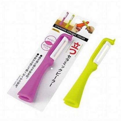 〔小禮堂〕日本ECHO 直立式塑膠削皮器《2款隨機.綠/桃》削皮刀.皮引