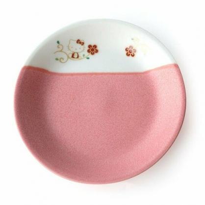 〔小禮堂〕Hello Kitty 日製迷你陶瓷圓盤《2入.粉白》小菜盤.點心盤.TACHIKICHI瓷器