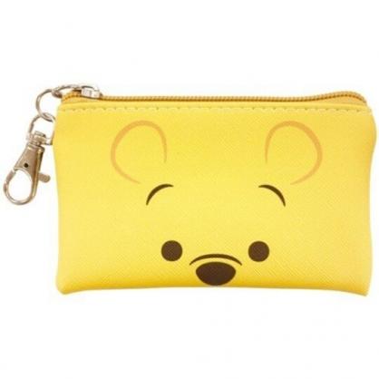 〔小禮堂〕迪士尼 小熊維尼 方形皮質拉鍊零錢包《黃.大臉》掛飾.收納包.耳機包