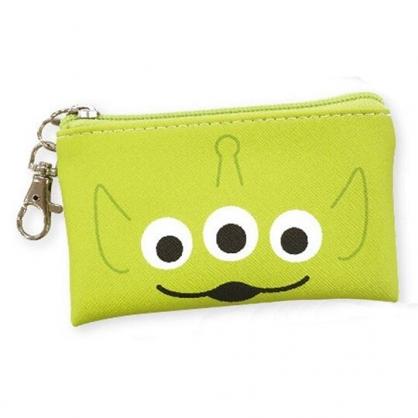 〔小禮堂〕迪士尼 三眼怪 方形皮質拉鍊零錢包《綠.大臉》掛飾.收納包.耳機包