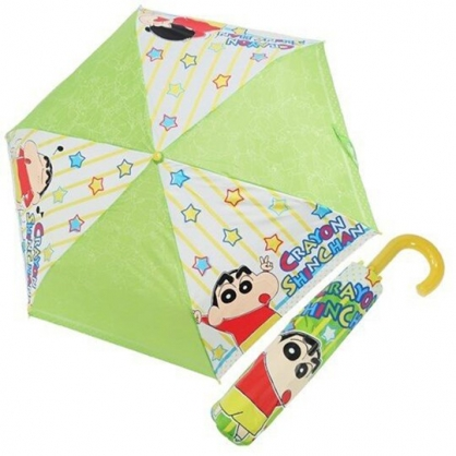 〔小禮堂〕蠟筆小新 彎把防風傘骨折疊傘《綠黃.星星》折傘.雨傘.雨具
