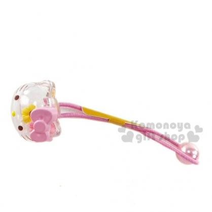 〔小禮堂〕Hello Kitty 大臉造型壓克力珠珠彈力髮束《粉透明》髮飾.髮圈.造型髮束