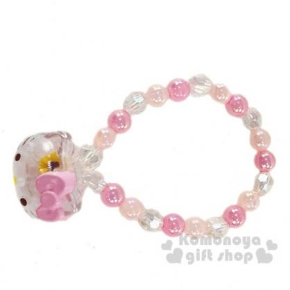 〔小禮堂〕Hello Kitty 兒童大臉造型壓克力串珠手鍊《粉白》造型手環.首飾