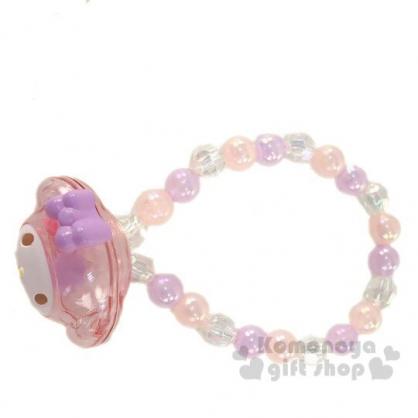 〔小禮堂〕美樂蒂 兒童大臉造型壓克力串珠手鍊《粉紫》造型手環.首飾