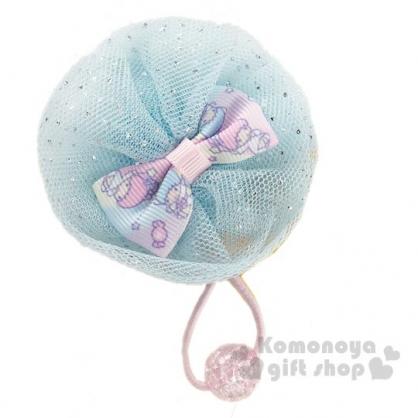 〔小禮堂〕雙子星 紗球蝴蝶結造型彈力髮束《藍》髮飾.髮圈.造型髮束