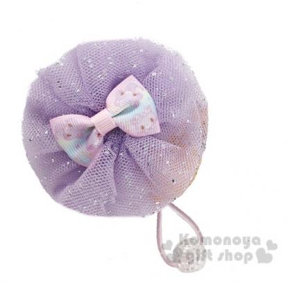 〔小禮堂〕甜夢貓 紗球蝴蝶結造型彈力髮束《紫》髮飾.髮圈.造型髮束