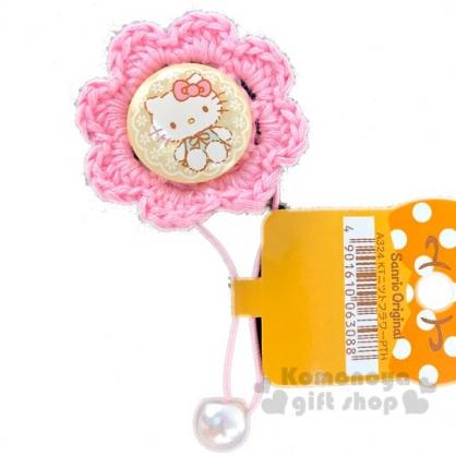 〔小禮堂〕Hello Kitty 針織花朵造型彈力髮束《粉黃》髮飾.髮圈.造型髮束