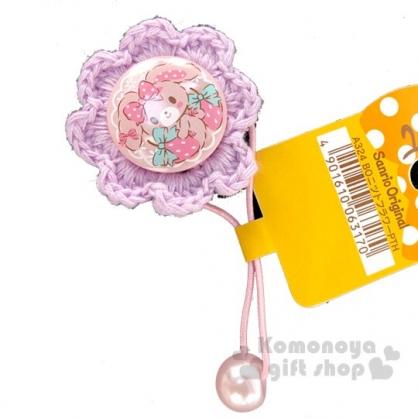 〔小禮堂〕蹦蹦兔 針織花朵造型彈力髮束《紫粉》髮飾.髮圈.造型髮束