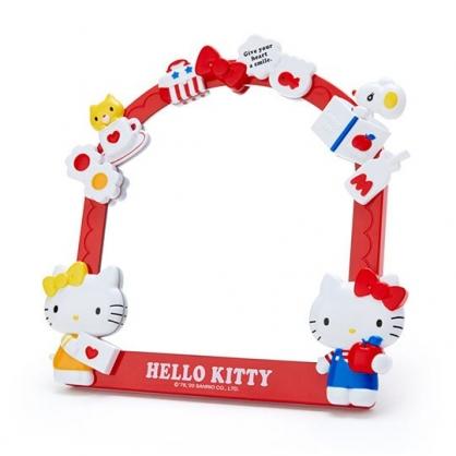 〔小禮堂〕Hello Kitty 造型邊框桌上立鏡壁掛鏡《紅黃》桌鏡.造型鏡