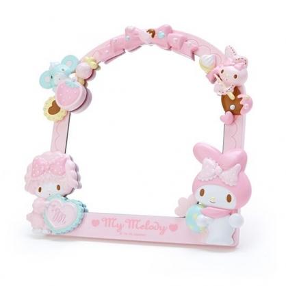 〔小禮堂〕美樂蒂 造型邊框桌上立鏡壁掛鏡《粉白》桌鏡.造型鏡