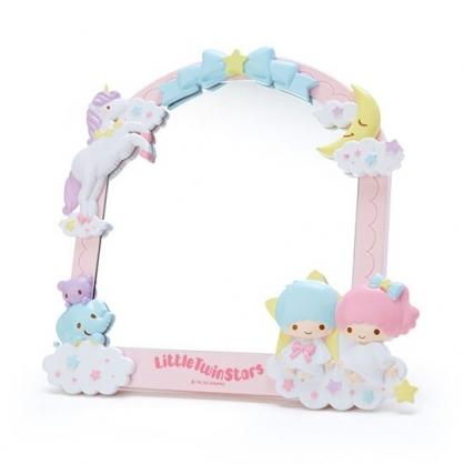 〔小禮堂〕雙子星 造型邊框桌上立鏡壁掛鏡《粉藍》桌鏡.造型鏡