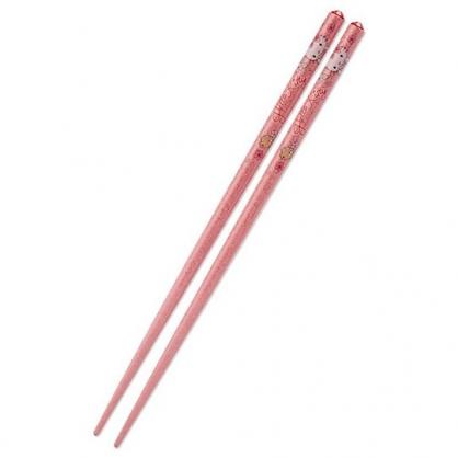 〔小禮堂〕Hello Kitty 日製壓克力鑽天然木筷子《粉》21cm.環保筷.燦爛櫻花系列