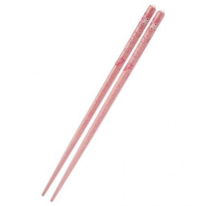 〔小禮堂〕美樂蒂 日製壓克力鑽天然木筷子《粉》21cm.環保筷.燦爛櫻花系列