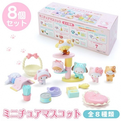 〔小禮堂〕Sanrio大集合 迷你貓咪造型擺飾組《8入.粉盒裝》盒玩.模型.變裝貓咪系列
