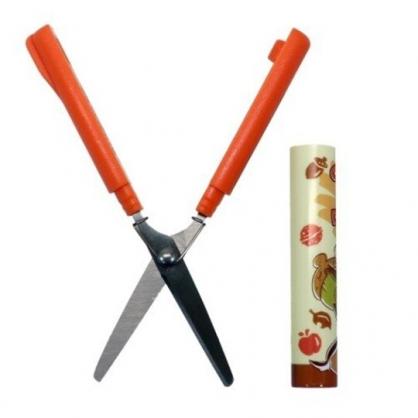 〔小禮堂〕迪士尼 奇奇蒂蒂 筆型攜帶式剪刀《橘棕.抱松果》事務剪.事務用品