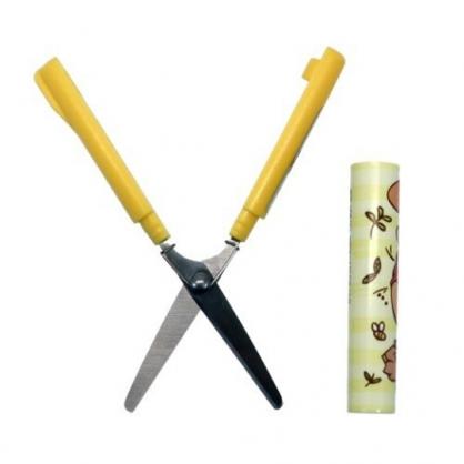 〔小禮堂〕迪士尼 小熊維尼 筆型攜帶式剪刀《黃棕.蜂蜜罐》事務剪.事務用品