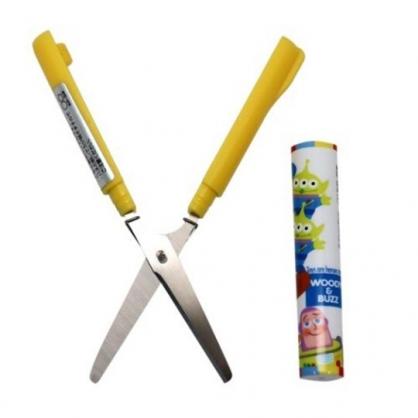〔小禮堂〕迪士尼 玩具總動員 筆型攜帶式剪刀《黃白.Q版》事務剪.事務用品