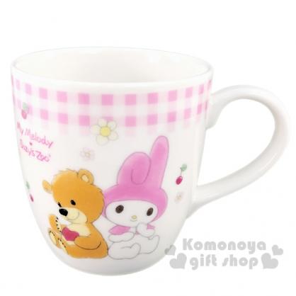 〔小禮堂〕美樂蒂 x suzy''s zoo 日製陶瓷馬克杯《粉白》230ml.茶杯.咖啡杯.金正陶器