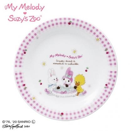 〔小禮堂〕美樂蒂 x suzy''s zoo 日製陶瓷圓盤《粉白》沙拉盤.點心盤.金正陶器