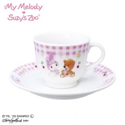 〔小禮堂〕美樂蒂 x suzy''s zoo 日製陶瓷咖啡杯盤組《粉白》茶杯.點心盤.金正陶器