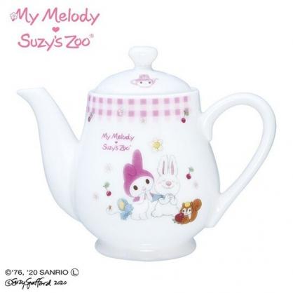 〔小禮堂〕美樂蒂 x suzy''s zoo 日製陶瓷茶壺《粉白》360ml.咖啡壺.水壺.金正陶器