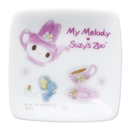 〔小禮堂〕美樂蒂 x suzy''s zoo 日製迷你陶瓷方形小菜碟《粉白.茶壺》醬料碟.金正陶器