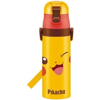 〔小禮堂〕神奇寶貝Pokemon皮卡丘 超輕量彈蓋不鏽鋼保溫瓶《黃紅.大臉》470ml.水壺.水瓶