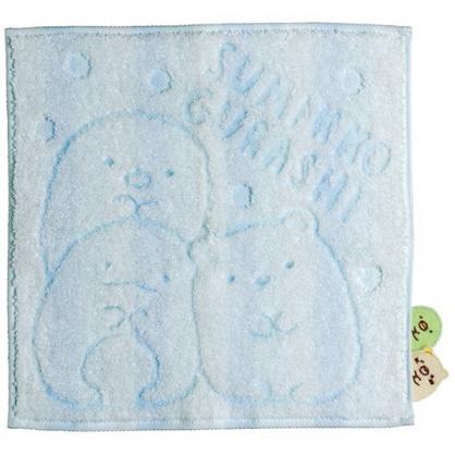 〔小禮堂〕角落生物 造型純棉無捻紗小方巾《藍.探頭》25x25cm.手帕