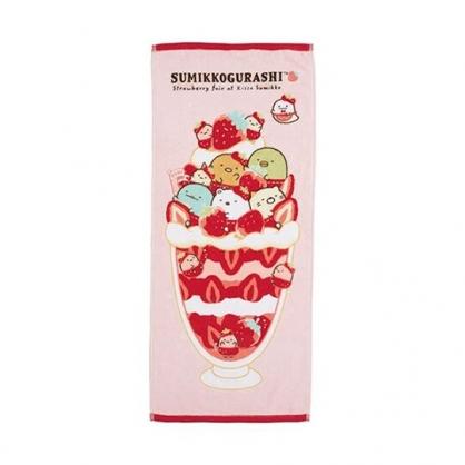 〔小禮堂〕角落生物 純棉割絨長毛巾《紅白.草莓》34x80cm.長巾