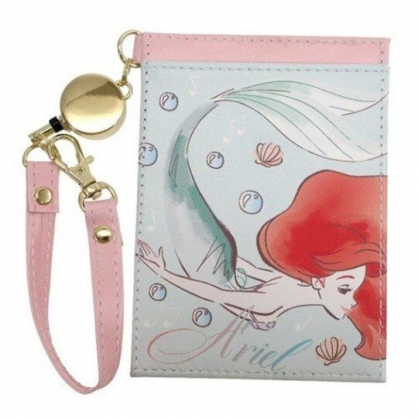 〔小禮堂〕迪士尼 小美人魚 皮質易拉扣伸縮票卡夾《綠粉.側身》車票夾.證件夾.卡套