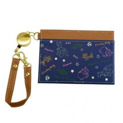 〔小禮堂〕迪士尼 玩具總動員 皮質易拉扣伸縮票卡夾《深藍.棕》車票夾.證件夾.卡套