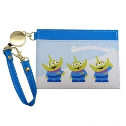 〔小禮堂〕迪士尼 三眼怪 皮質易拉扣伸縮票卡夾《藍綠.三隻》車票夾.證件夾.卡套