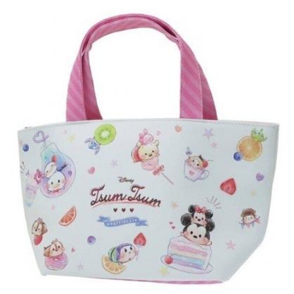 〔小禮堂〕迪士尼TsumTsum 可拆式皮質保冷手提便當袋《粉白.甜點》野餐袋.保冷袋