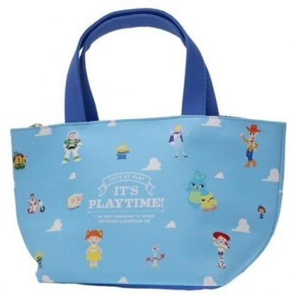 〔小禮堂〕迪士尼 玩具總動員 可拆式皮質保冷手提便當袋《藍白.雲朵》野餐袋.保冷袋