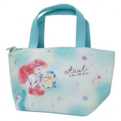〔小禮堂〕迪士尼 小美人魚 可拆式皮質保冷手提便當袋《綠白.牽手》野餐袋.保冷袋