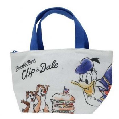 〔小禮堂〕迪士尼 奇奇蒂蒂 唐老鴨 可拆式帆布保冷手提便當袋《藍白.漢堡》野餐袋.保冷袋