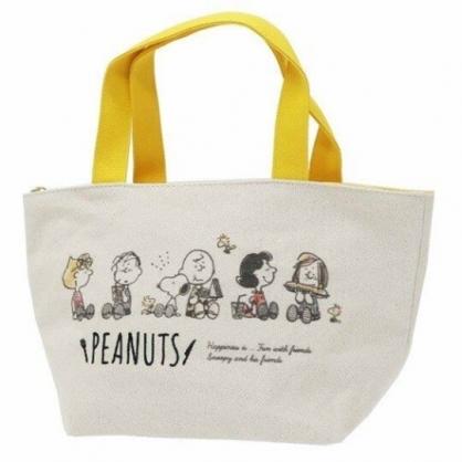 〔小禮堂〕史努比 可拆式帆布保冷手提便當袋《黃米.吃東西》野餐袋.保冷袋