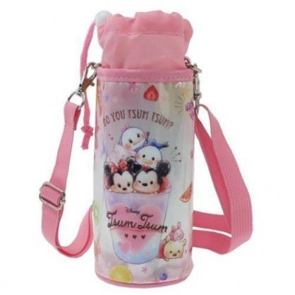 〔小禮堂〕迪士尼 TsumTsum 防水斜背束口保冷水壺袋《粉白.飲料杯》500-600ml.杯套.水瓶袋
