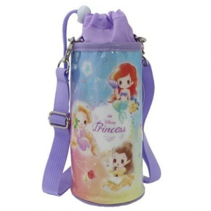 〔小禮堂〕迪士尼 公主 防水斜背束口保冷水壺袋《粉紫.Q版》500-600ml.杯套.水瓶袋