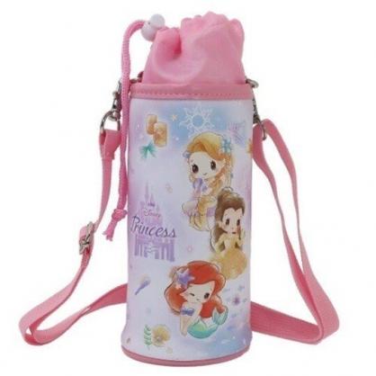 〔小禮堂〕迪士尼 公主 皮質斜背束口保冷水壺袋《粉白.Q版》500-600ml.杯套.水瓶袋