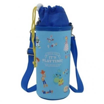〔小禮堂〕迪士尼 玩具總動員 皮質斜背束口保冷水壺袋《藍綠.角色滿版》500-600ml.杯套.水瓶袋