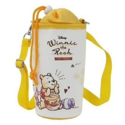〔小禮堂〕迪士尼 小熊維尼 帆布斜背束口保冷水壺袋《黃白.蜂蜜罐》500-600ml.杯套.水瓶袋
