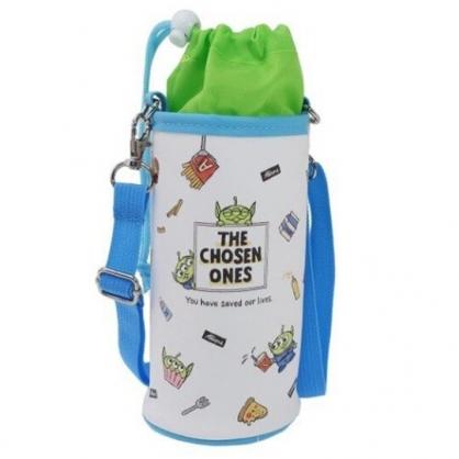 〔小禮堂〕迪士尼 三眼怪 皮質斜背束口保冷水壺袋《藍白.速食》500-600ml.杯套.水瓶袋