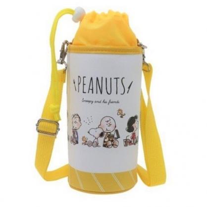 〔小禮堂〕史努比 皮質斜背束口保冷水壺袋《黃白.吃東西》500-600ml.杯套.水瓶袋