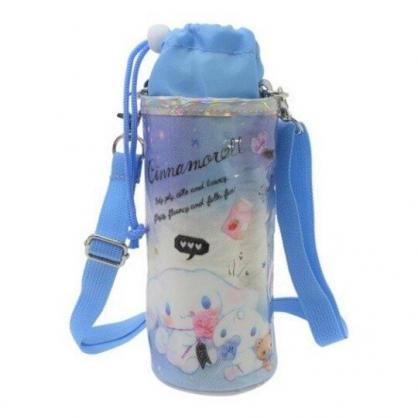〔小禮堂〕大耳狗 防水斜背束口保冷水壺袋《藍白.朋友》500-600ml.杯套.水瓶袋