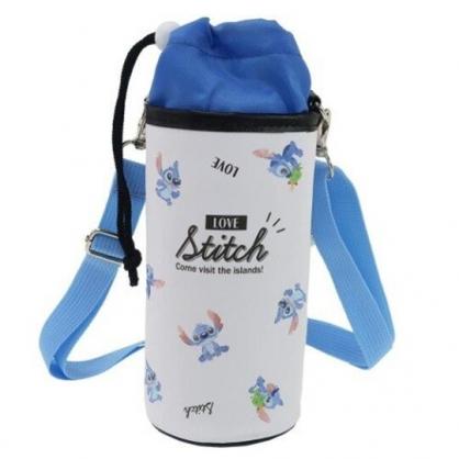 〔小禮堂〕迪士尼 史迪奇 皮質斜背束口保冷水壺袋《黑白.坐姿滿版》500-600ml.杯套.水瓶袋