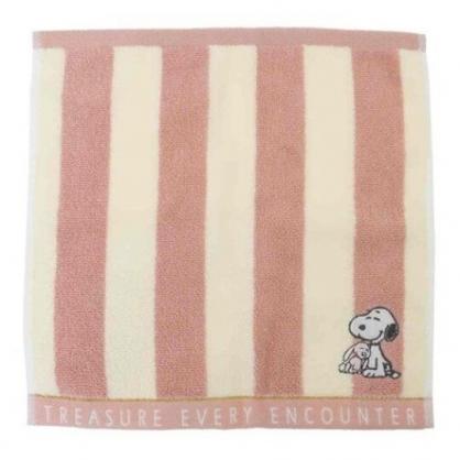 〔小禮堂〕史努比 純棉無捻紗小方巾《粉米.直紋》25x25cm.手帕