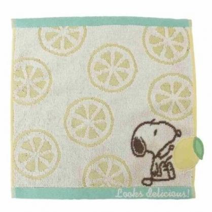 〔小禮堂〕史努比 純棉無捻紗小方巾《綠黃.檸檬片》25x25cm.手帕