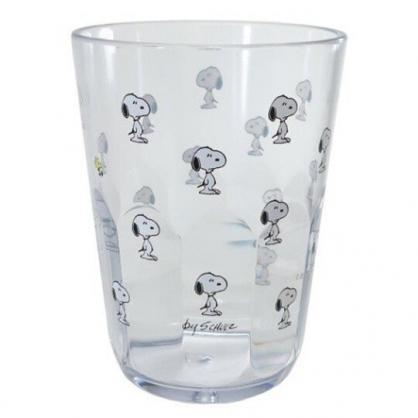 〔小禮堂〕史努比 日製無把透明塑膠小水杯《黑白.站姿滿版》370ml.漱口杯.塑膠杯