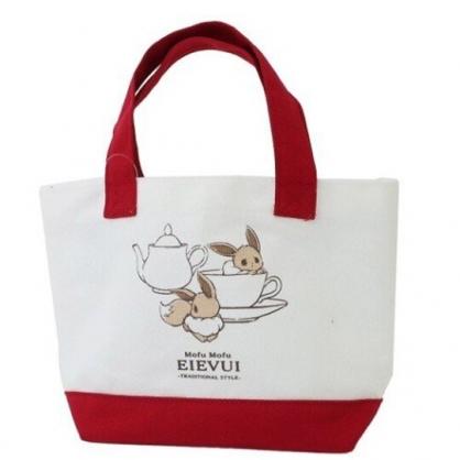 〔小禮堂〕神奇寶貝Pokemon伊布 可拆式帆布保冷手提便當袋《紅白.咖啡杯》野餐袋.保冷袋